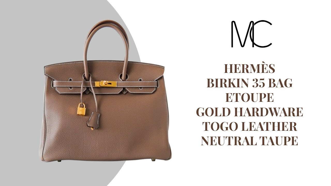 2b7f8fc843a MIGHTYCHIC • HERMÈS Birkin 35 Bag Etoupe Gold Hardware Togo Leather Neutral  Taupe