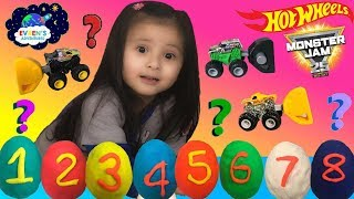 8 HOT WHEELS MONSTER JAM Trucks BLIND BAGS opening Play Doh surprise eggs guess the monster trucks