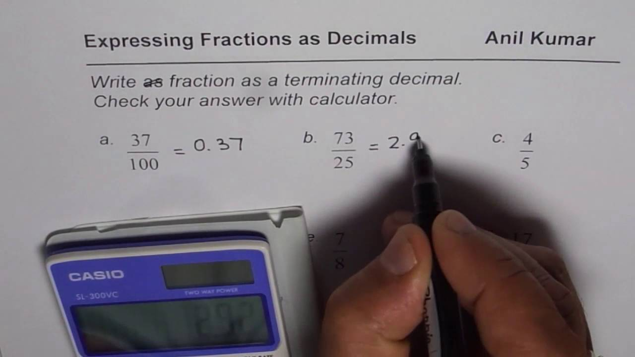 Write Fractions As Terminating Decimal Numbers