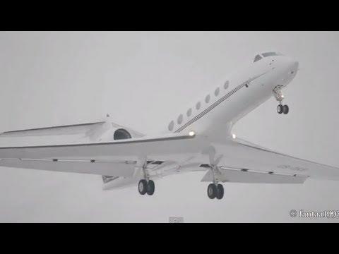 Long wing Gulfstream G550 takeoff at Bern-Belp HD