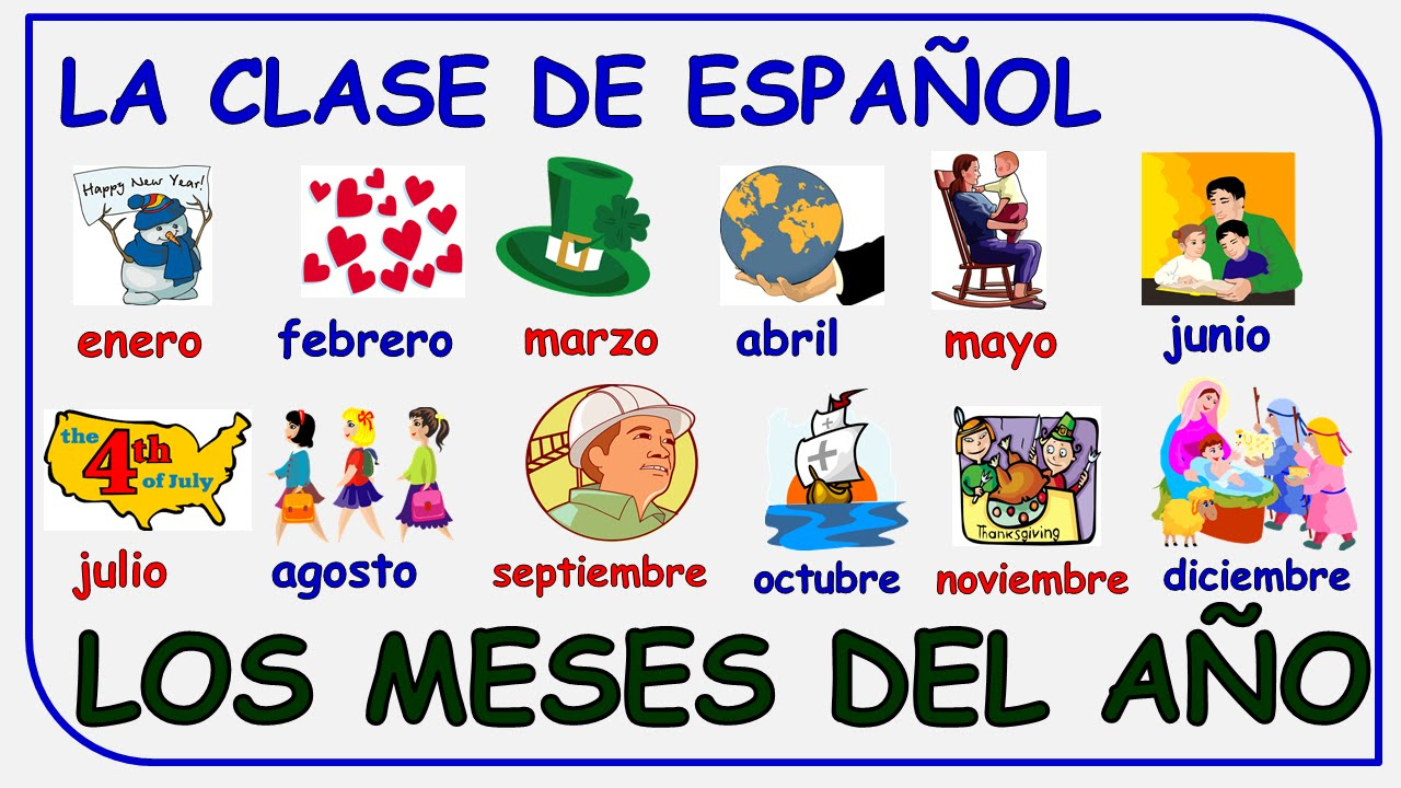 months of the year in spanish los meses del a o en espa ol youtube. Black Bedroom Furniture Sets. Home Design Ideas