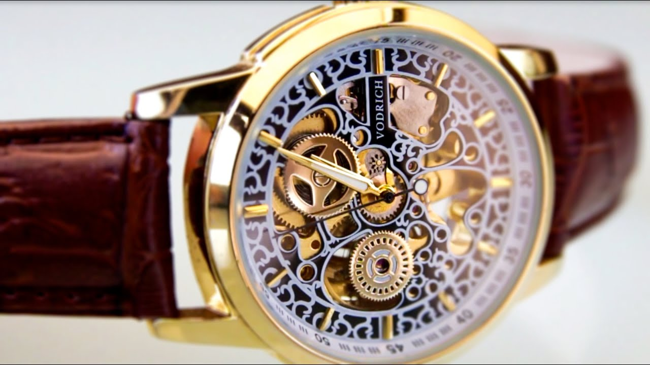 davinci dual product gold strap s watches free watch mens xxiv men shipping mechanical overstock tone time jewelry akribos today