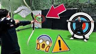 IMPOSSIBLE ARCHERY TRICK SHOTS CHALLENGE!!! **DANGEROUS**