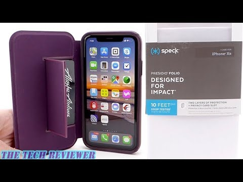 Speck Presidio Folio For IPhone XR: 10 Ft Drop Protection, 3 Card Storage & Bulge Free Design!
