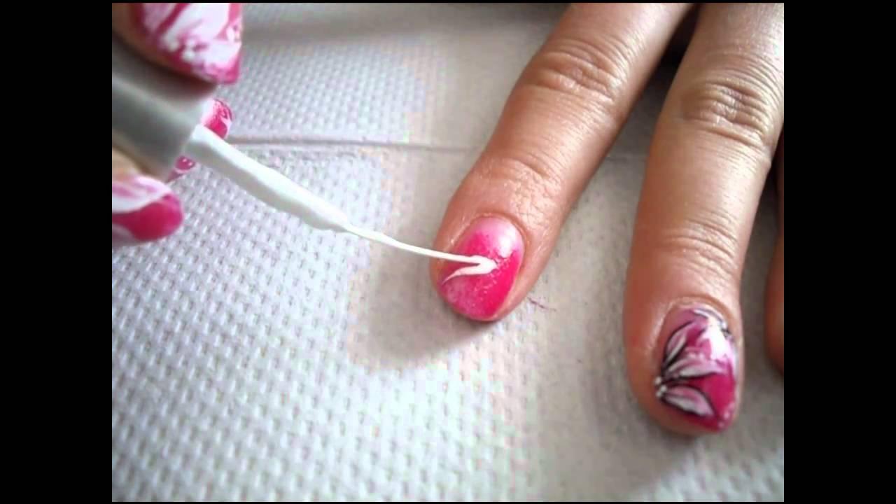 Bialo Rozowy Kwiatek Flower Nail Art Tutorial Youtube