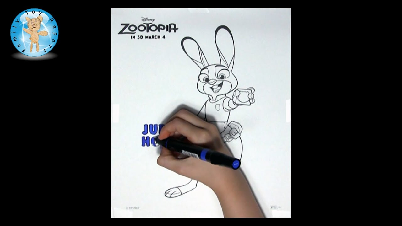 Disney velvet coloring posters - Disney Zootopia Judy Hopps Coloring Page Speed Color Family Toy Report