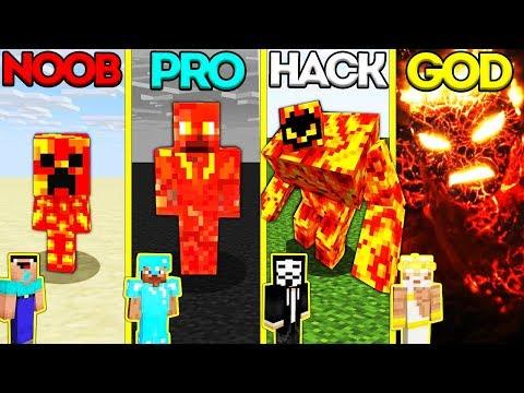 Minecraft Battle: NOOB vs PRO vs HACKER vs GOD: LAVA MONSTER EVOLUTION CHALLENGE / Animation