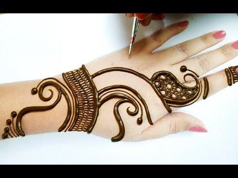 मेहँदी सीखने का आसान तरीका - Navratri / Gudi Padva Special Full Hand Easy Mehndi Design for Hands