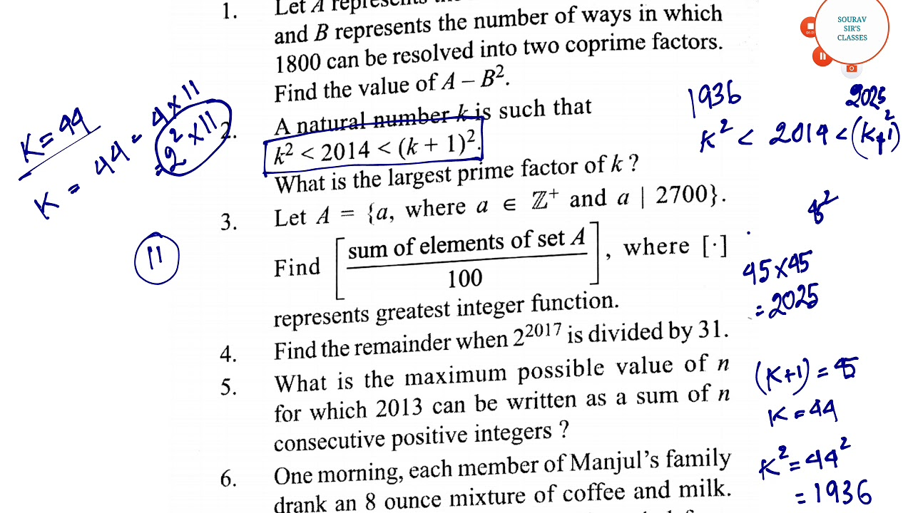 Questions of Number Theory Solved for Pre-Rmo (Math Olympiad) Answer with  Explanation in a new way