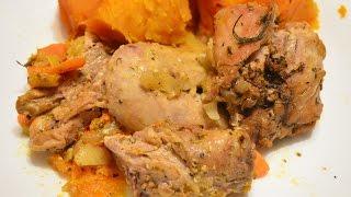 Тыква запеченная в духовке с мясом./Baked pumpkin.