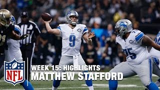 Matthew Stafford 3 TD Monday Night Performance! (Week 15) | Lions vs. Saints | NFL Highlights(Detroit Lions QB Matthew Stafford completed 22 of 25 passes for 254 yards and 3 touchdowns against the New Orleans Saints in Week 15 of the 2015 NFL ..., 2015-12-22T05:21:25.000Z)