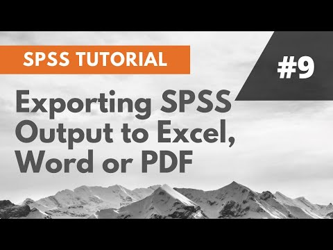SPSS Tutorial #7: Exporting SPSS Output to Excel, Word or PDF
