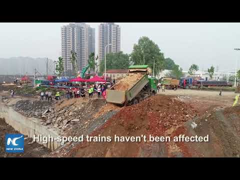 22 trains suspended after roadbed collapse in Hubei, China