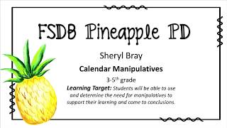 """Calendar Manipulatives"" Strategies"