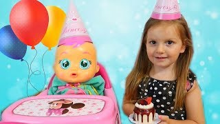 Sara and story about baby doll birthday party