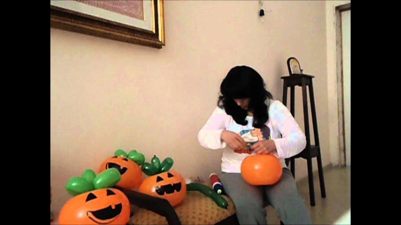 tutorial zucca di palloncini per halloween
