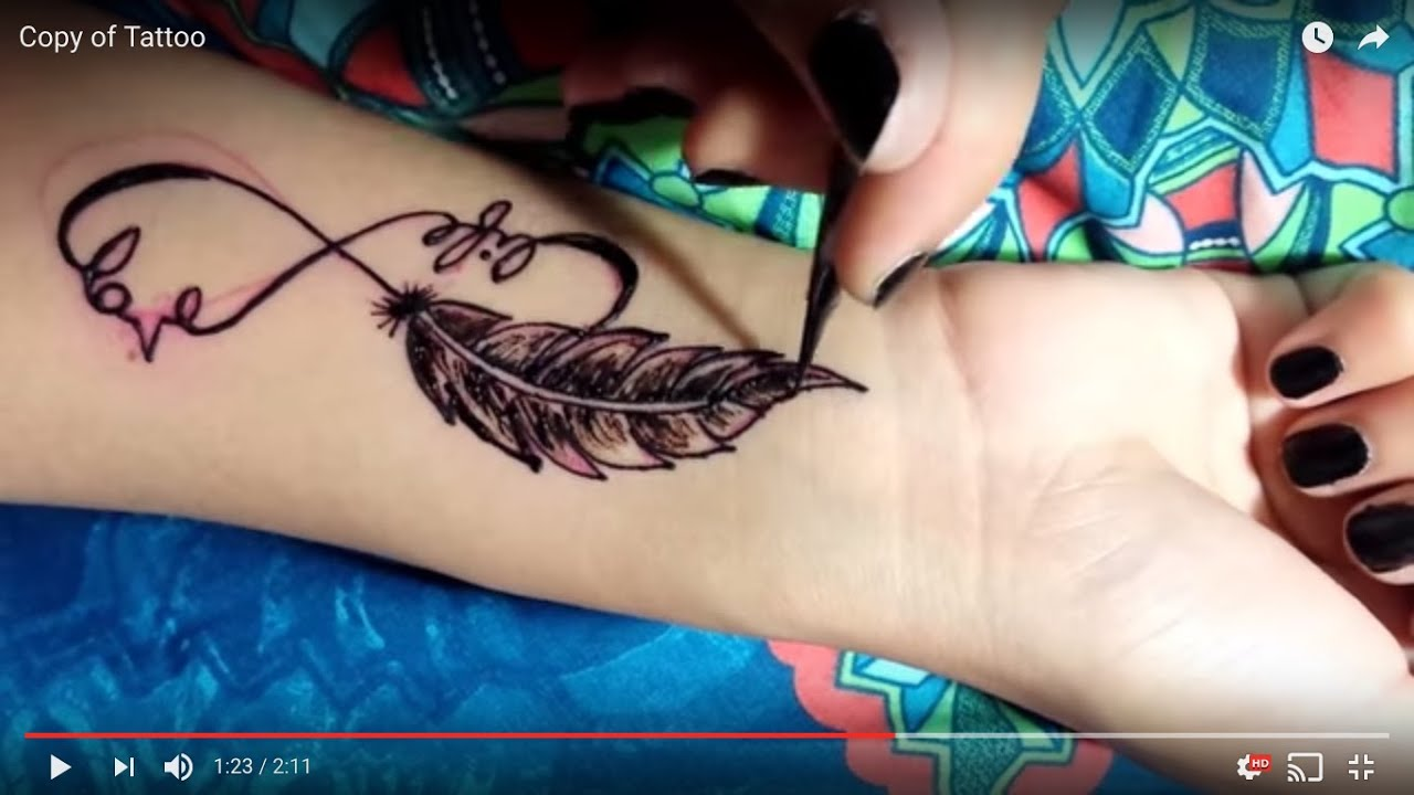 Henna Feather: DIY FEATHER Tattoo Tutorial Using Henna And Jagua Paste