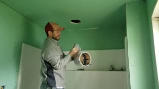 Installing recessed ceiling shower light. DIY