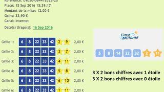 Comment gagner à l'EuroMillions? (GAINS DU 16 SEPTEMBRE) 33.90 Euros