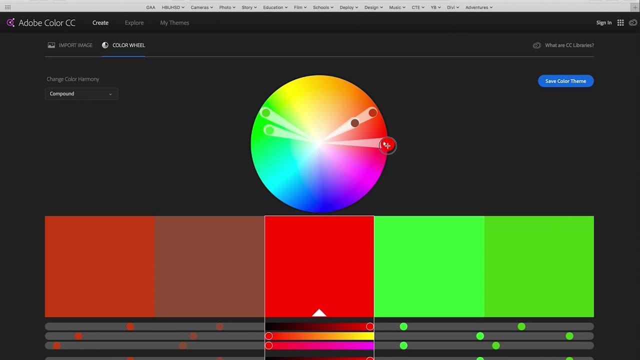 Illustrator Cc Color 03 Adobe Color Color Wheel Harmonies Etc