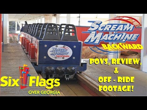 Great American Scream Machine Backward - Six Flags Over Georgia Mounted POVS, Review, & Ride Video