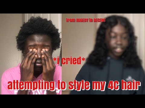 attempting to style my 4C hair *i cried*