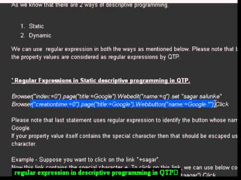 Regular expression in qtp with examples.