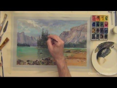 Рисуем пейзаж акварелью поэтапный урок