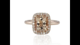 Morganite And Diamond Solitaire Ring with Plain Rose Gold Shank LS4391