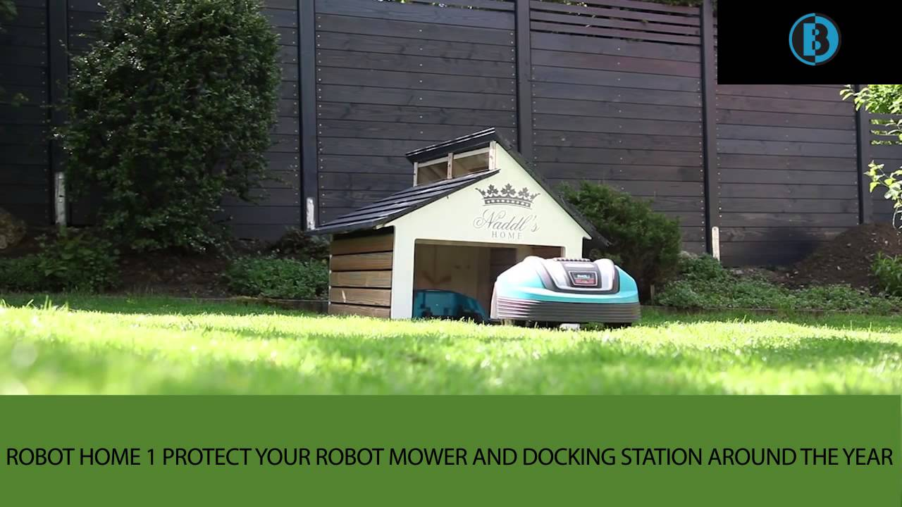 Robot home 1 danish design robot mower garage youtube - Lawn mower for small spaces decor ...