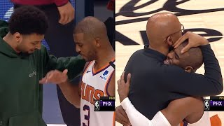 Chris Paul and the Suns players give their respect to the Nuggets team after game 4