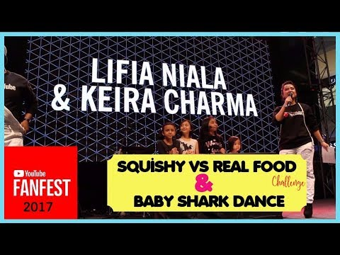 SQUISHY VS REAL FOOD & BABY SHARK DANCE ♥ YOUTUBE FANFEST 2017