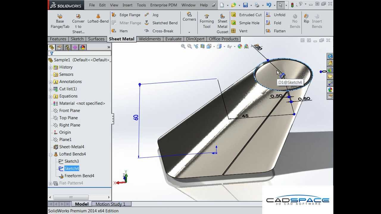 Square To Round Duct In Solidworks Sheet Metal Youtube