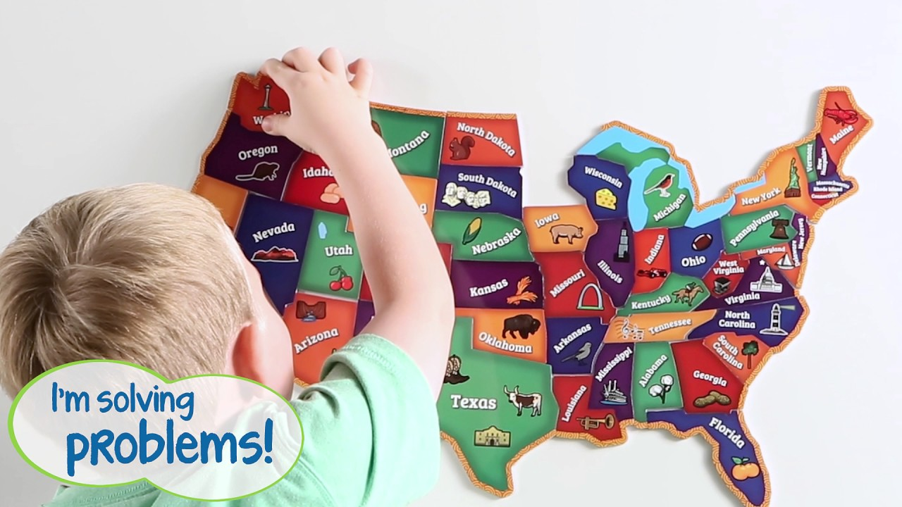 Magnetic Us Map Puzzle Youtube - Us-map-game-puzzle