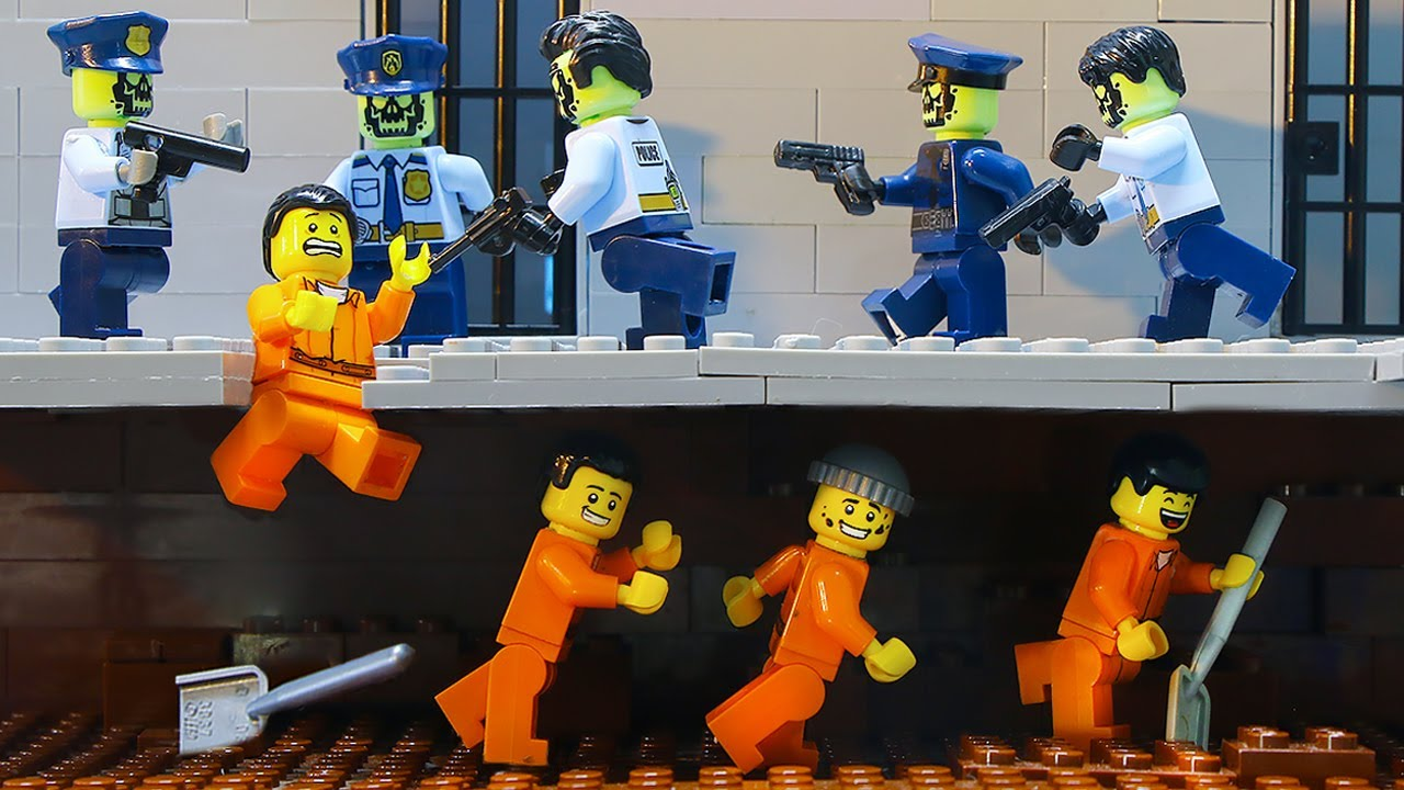 Lego Escape The Zombie Prison: Police Find Tunnel Inside Jail (Lego Stop Motion)