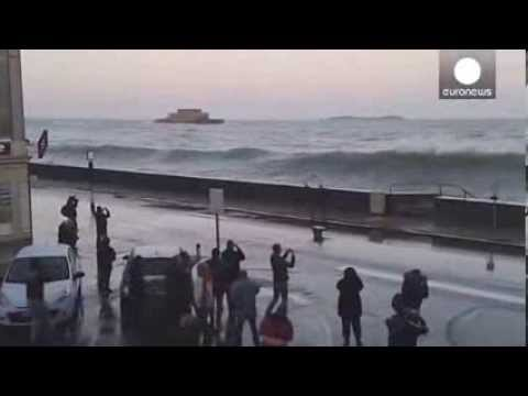 Waves flood streets as ocean's wrath hits Saint Malo coastline in France
