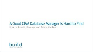 Webinar: A Good Nonprofit CRM Database Manager is Hard to Find