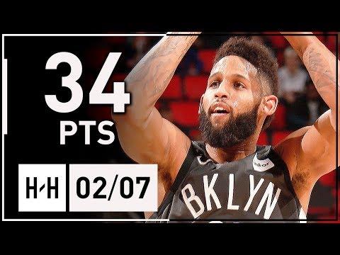 Allen Crabbe Full Highlights Nets vs Pistons (2018.02.07) - 34 Points, 6 Threes!