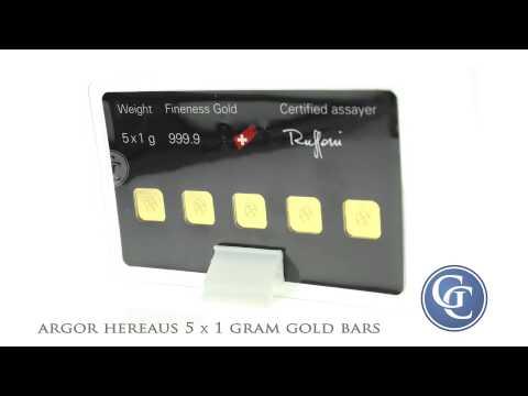 Argor Hereaus 5 x 1 gram Gold Bar Multicard