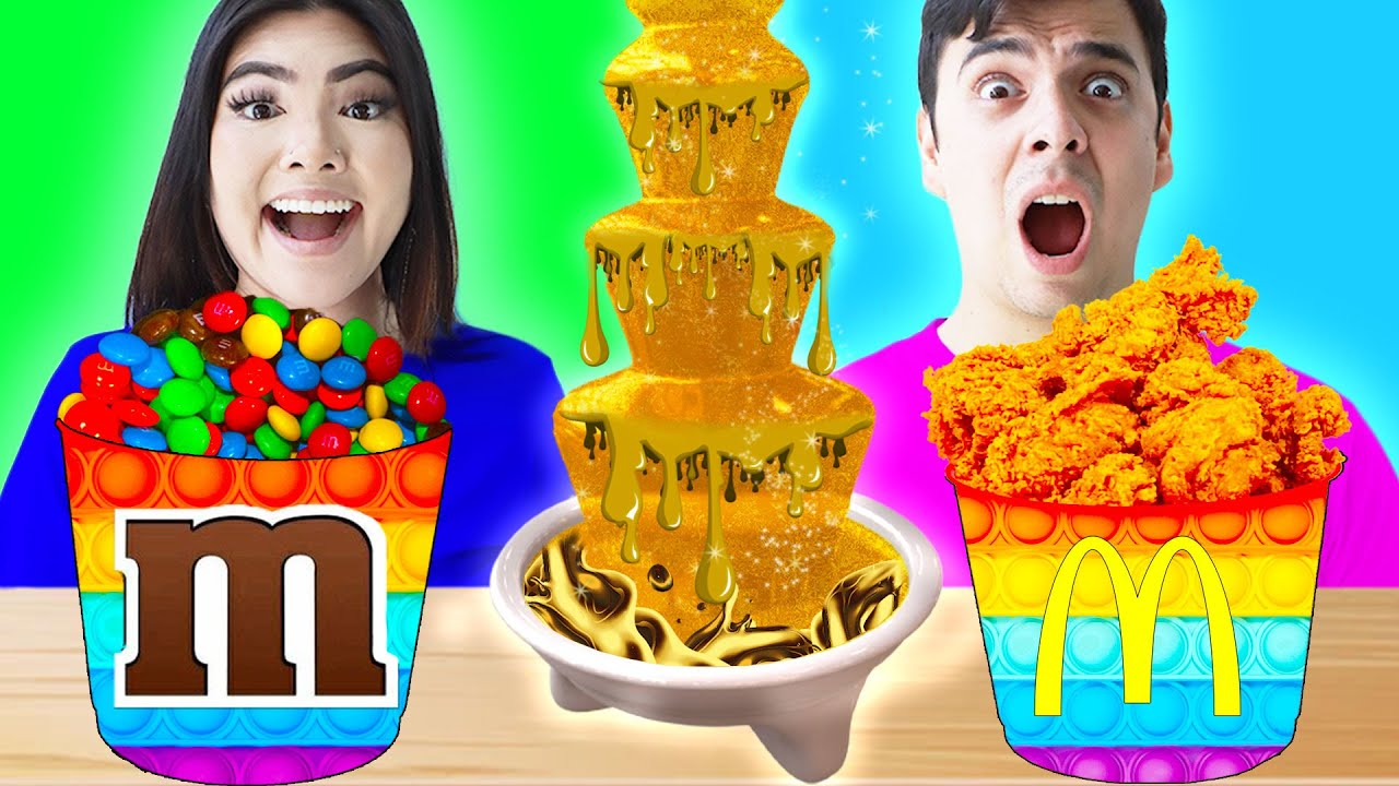 GOLD CHOCOLATE FONDUE CHALLENGE | LAST TO STOP EATING GOLDEN FOOD FOR 24 HOURS BY CRAFTY HACKS