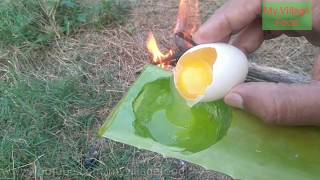 How To Cook An Egg Omelette In A Aloe Vera /Rare Recipe /Wild Survival Style /First Try In The World