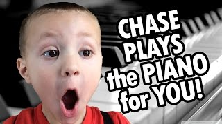 Chase plays the Piano for You!  (3 Year Old Musician Makes a Video by Himself?)
