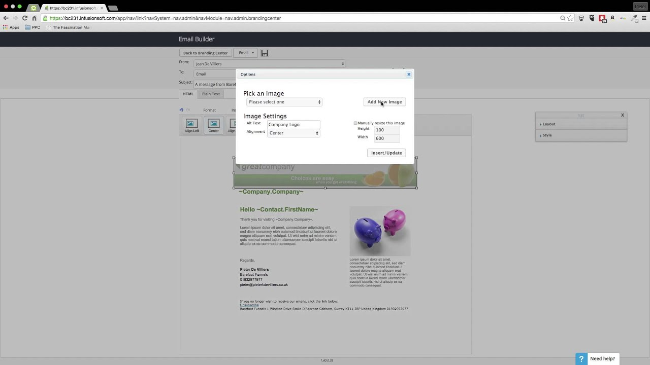 Creating an Email Template in Infusionsoft - YouTube