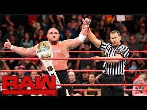 Roman Reigns Vs Samoa Joe - Intercontinental Championship Match on Raw 4 December 2017 Highlights thumbnail