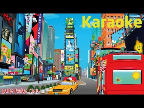 Wheels On The Bus In New York Times Square - Karaoke | Nursery Rhymes | Part 2 | from JollyBabyClub