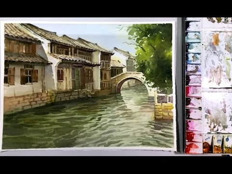 Watercolor Landscape Painting : Zhouzhuang Water Town