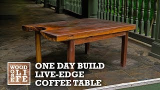 Building a Live Edge Walnut Slab Coffee Table in a Day | One Day Builds