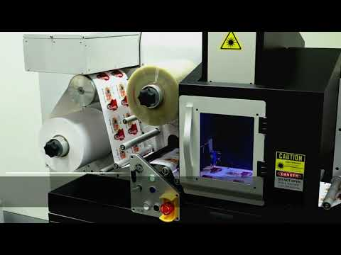 Inline label system - digital laser printer and cutter  any JET