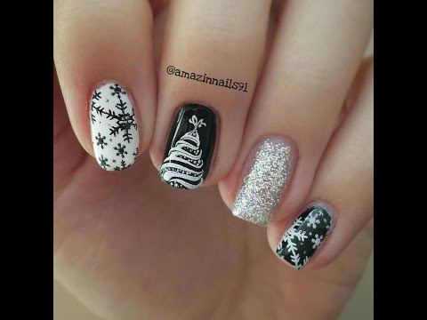 Christmas Nail art Tutorial #5 | Black&White Christmas (Stamping BornPrettyStore) (eng subs)