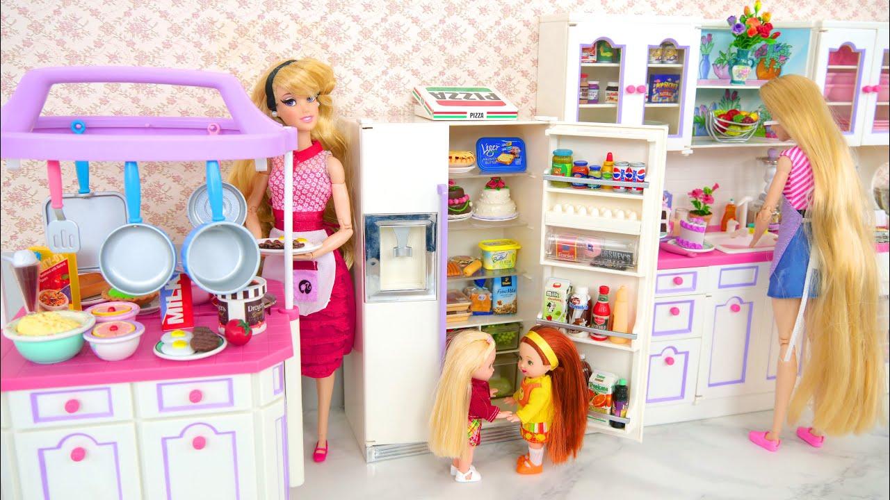 Fantastic Doll Kitchen Full Set Kitchen Island Fridge With Light On Making Ice Kuche Geladeira Youtube